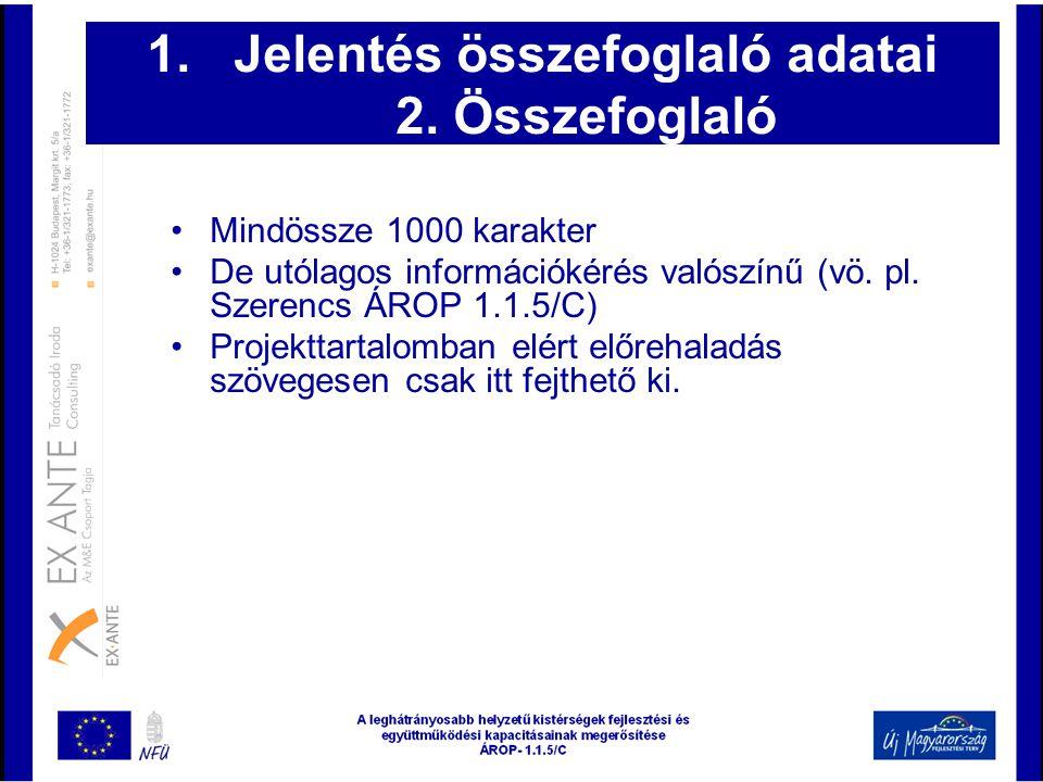 1.Jelentés összefoglaló adatai 2. Összefoglaló •Mindössze 1000 karakter •De utólagos információkérés valószínű (vö. pl. Szerencs ÁROP 1.1.5/C) •Projek