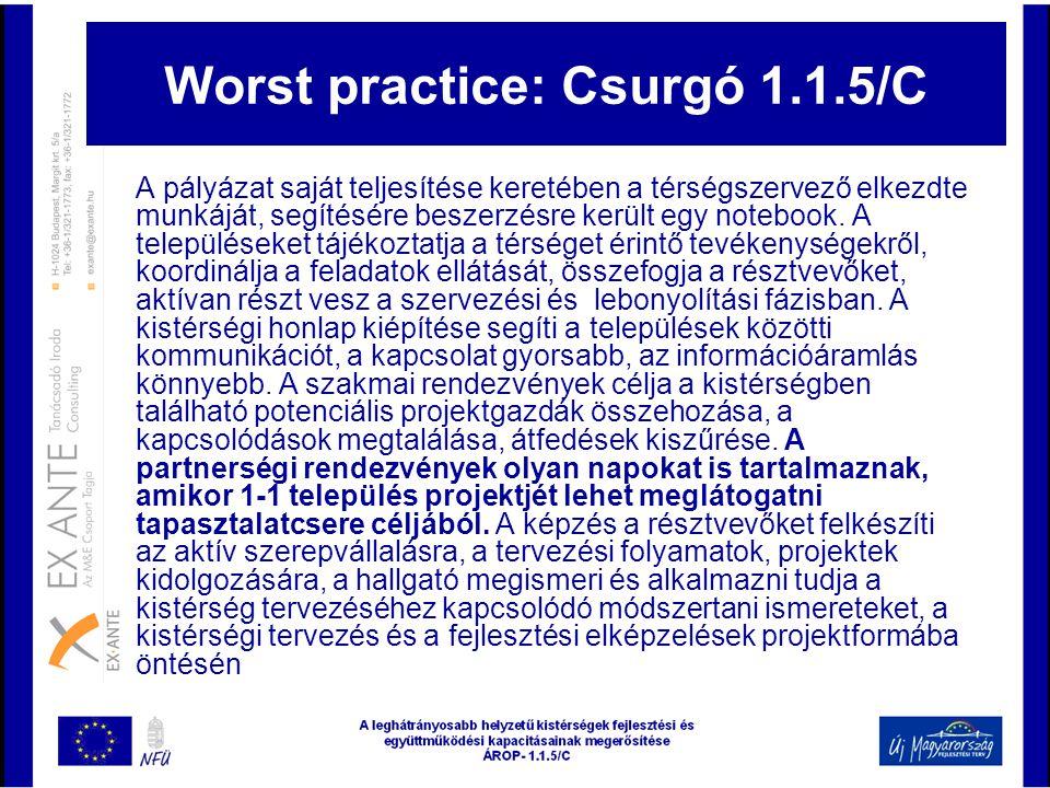 Worst practice: Csurgó 1.1.5/C A pályázat saját teljesítése keretében a térségszervező elkezdte munkáját, segítésére beszerzésre került egy notebook.