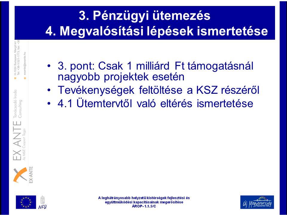 3. Pénzügyi ütemezés 4. Megvalósítási lépések ismertetése •3. pont: Csak 1 milliárd Ft támogatásnál nagyobb projektek esetén •Tevékenységek feltöltése