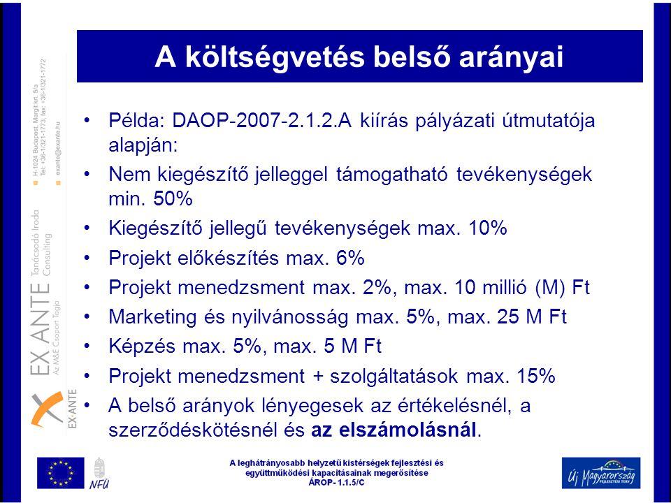 A költségvetés belső arányai •Példa: DAOP-2007-2.1.2.A kiírás pályázati útmutatója alapján: •Nem kiegészítő jelleggel támogatható tevékenységek min. 5