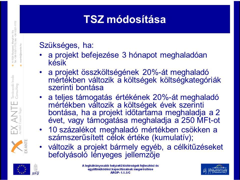 TSZ módosítása Szükséges, ha: •a projekt befejezése 3 hónapot meghaladóan késik •a projekt összköltségének 20%-át meghaladó mértékben változik a költs