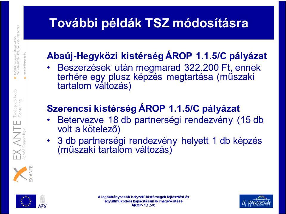 További példák TSZ módosításra Abaúj-Hegyközi kistérség ÁROP 1.1.5/C pályázat •Beszerzések után megmarad 322.200 Ft, ennek terhére egy plusz képzés me