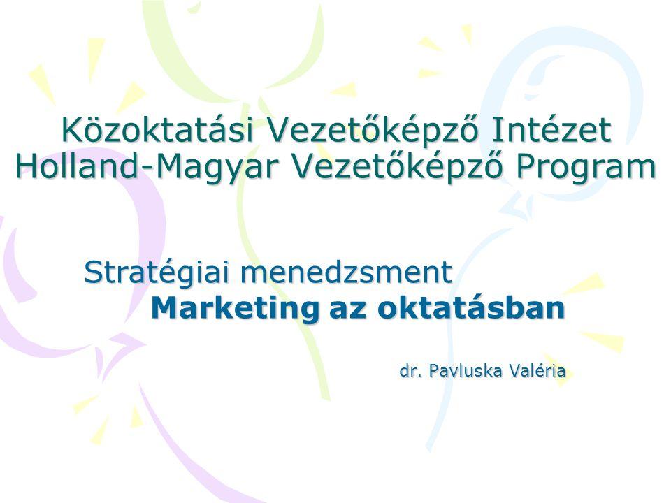 Közoktatási Vezetőképző Intézet Holland-Magyar Vezetőképző Program Stratégiai menedzsment Marketing az oktatásban dr.