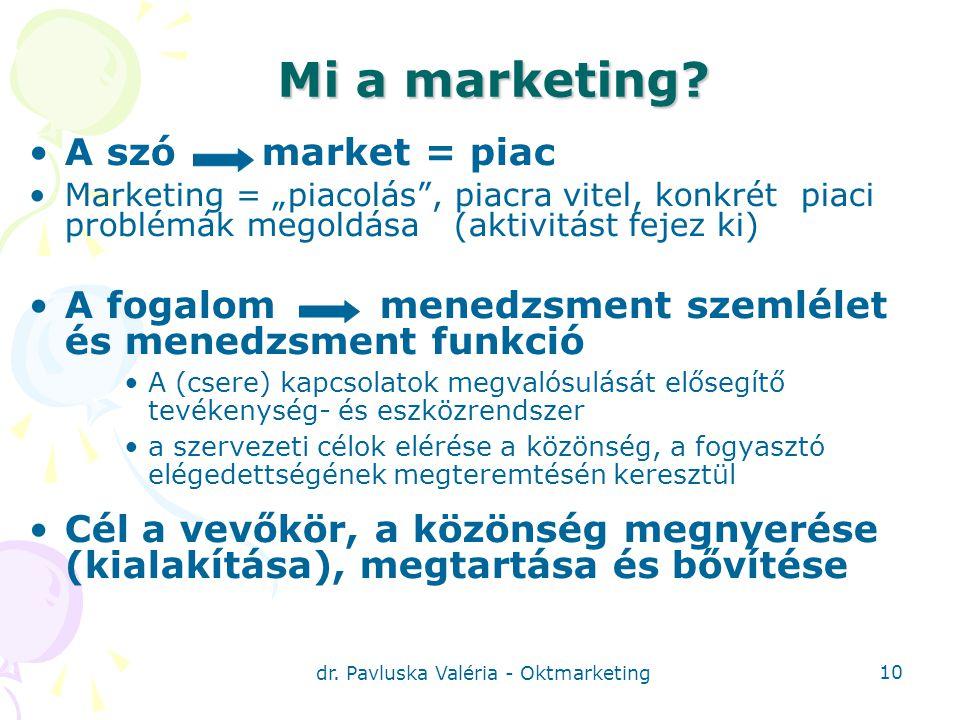 dr.Pavluska Valéria - Oktmarketing 10 Mi a marketing.