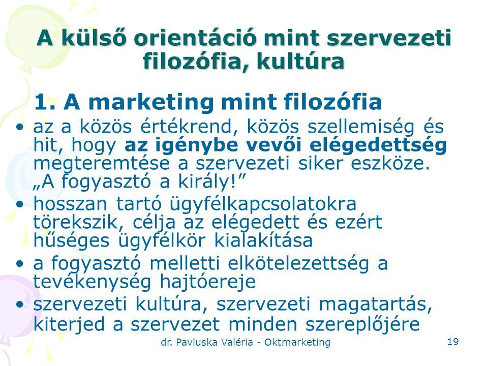 dr.Pavluska Valéria - Oktmarketing 19 A külső orientáció mint szervezeti filozófia, kultúra 1.