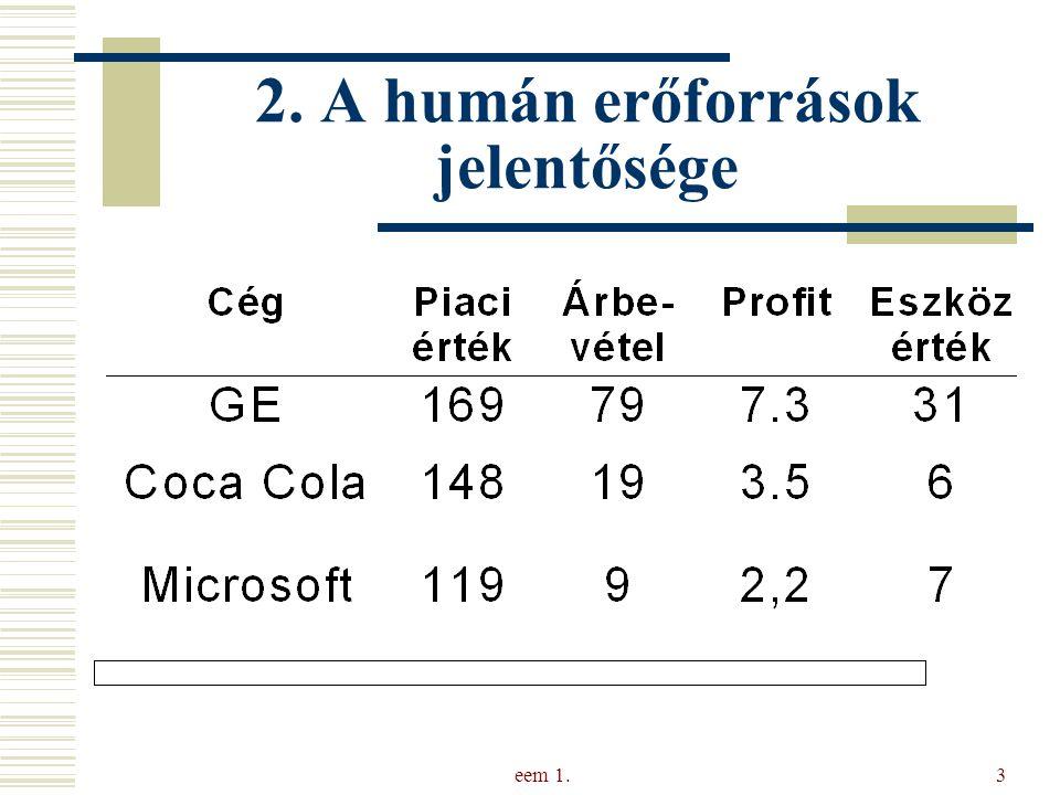 eem 1.4 Az intellektuális tőke összetevői Vállalkozás tőkéje Pénzügyi tőke Intellektuális tőke Szellemi tevékenységek+tudás+képesség Kapcsolatitőke Szervezeti tőke Humán tőke