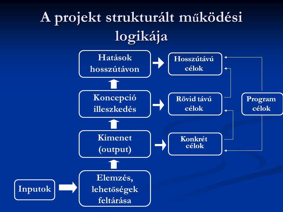 A projekt strukturált m ű ködési logikája Elemzés, lehet ő ségek feltárása Inputok Hosszútávú célok Kimenet (output) Koncepció illeszkedés Hatások hos