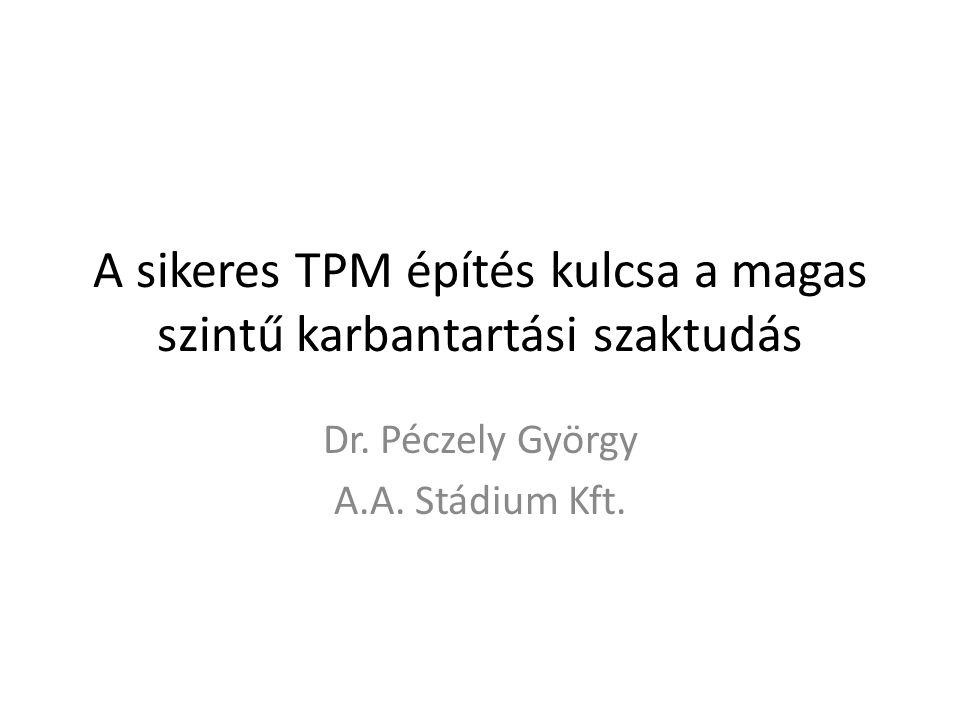 A sikeres TPM építés kulcsa a magas szintű karbantartási szaktudás Dr. Péczely György A.A. Stádium Kft.