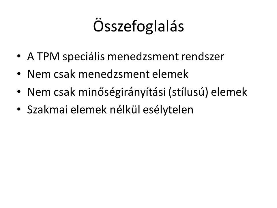 Összefoglalás • A TPM speciális menedzsment rendszer • Nem csak menedzsment elemek • Nem csak minőségirányítási (stílusú) elemek • Szakmai elemek nélk