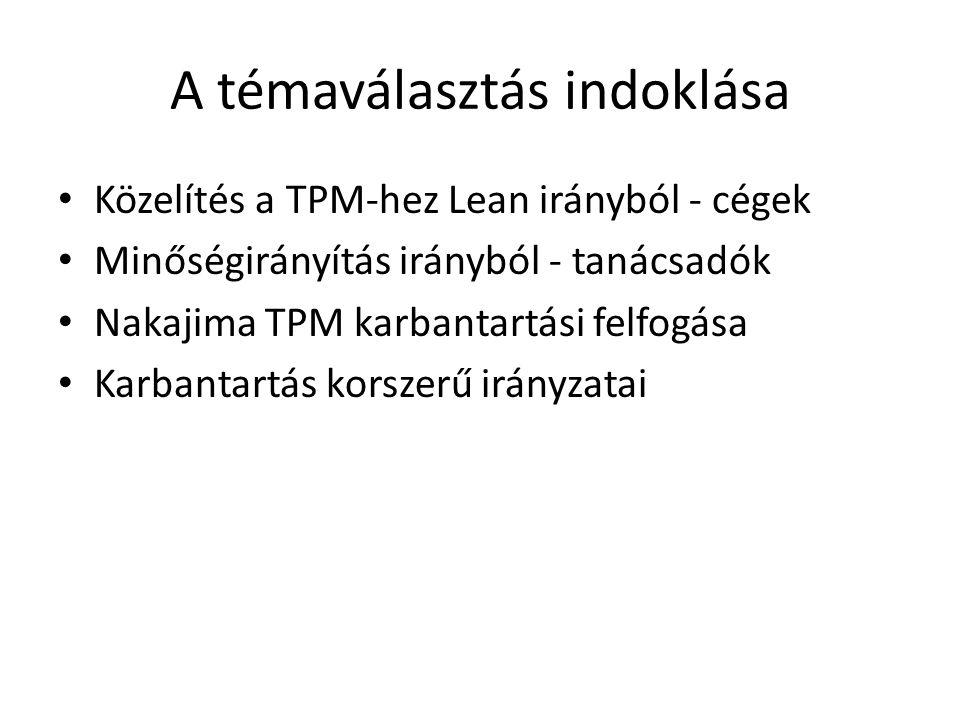 A témaválasztás indoklása • Közelítés a TPM-hez Lean irányból - cégek • Minőségirányítás irányból - tanácsadók • Nakajima TPM karbantartási felfogása