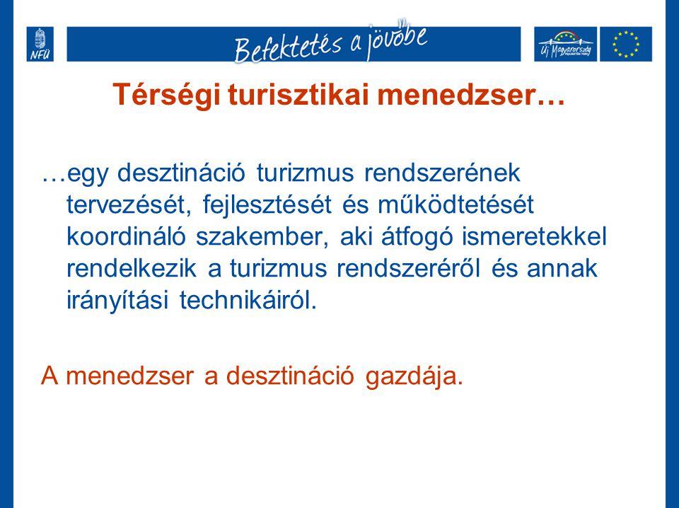 Térségi turisztikai menedzser… …egy desztináció turizmus rendszerének tervezését, fejlesztését és működtetését koordináló szakember, aki átfogó ismere