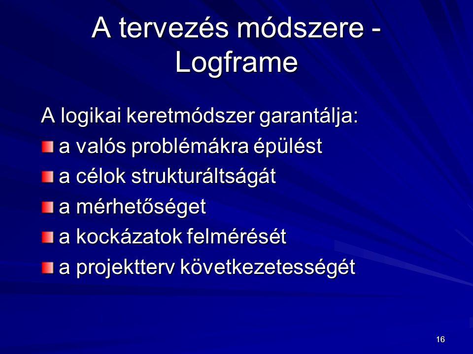 16 A tervezés módszere - Logframe A logikai keretmódszer garantálja: a valós problémákra épülést a célok strukturáltságát a mérhetőséget a kockázatok