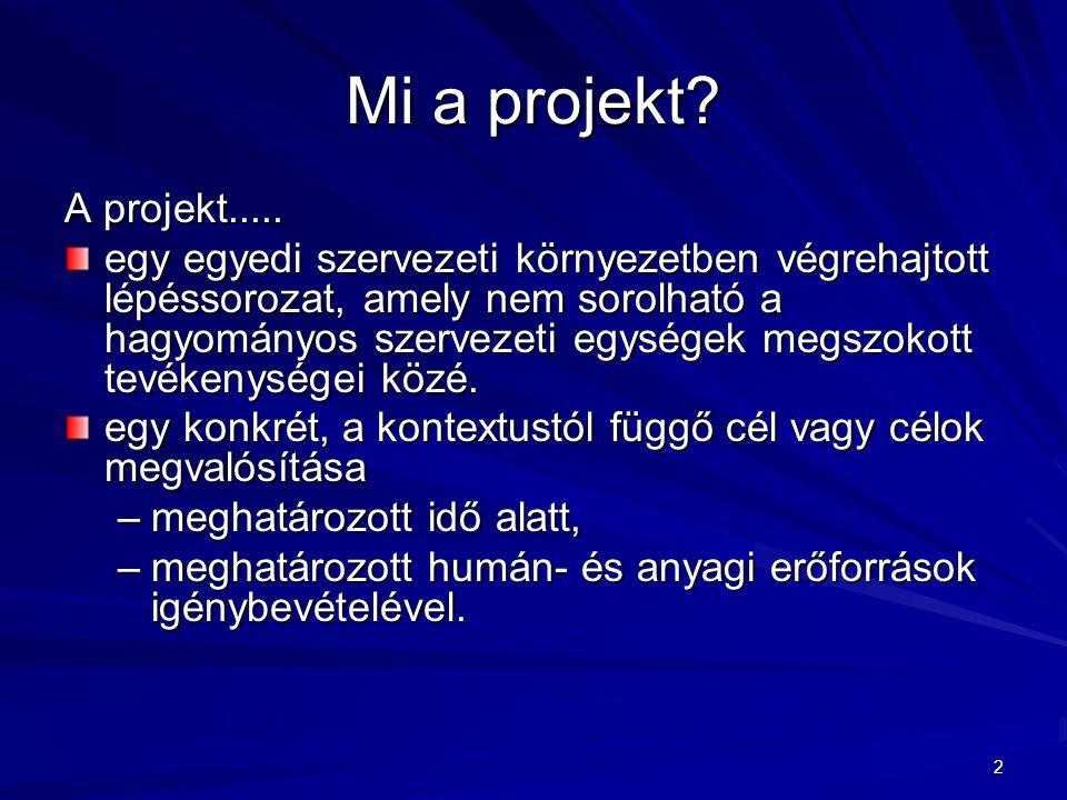 2 Mi a projekt? A projekt..... egy egyedi szervezeti környezetben végrehajtott lépéssorozat, amely nem sorolható a hagyományos szervezeti egységek meg