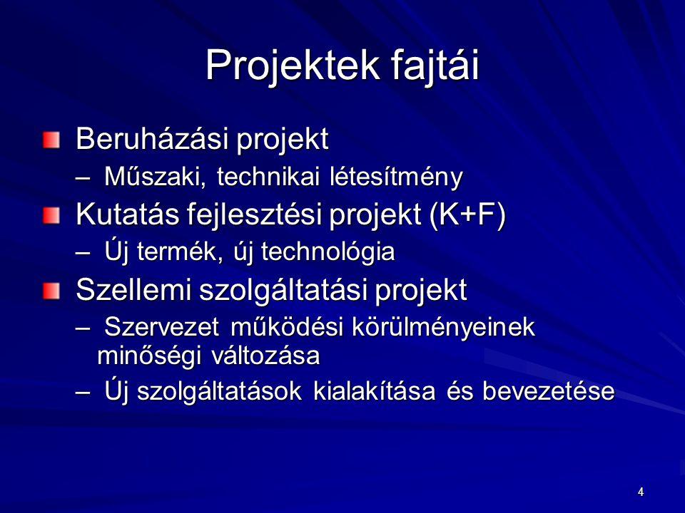 4 Projektek fajtái Beruházási projekt Beruházási projekt – Műszaki, technikai létesítmény Kutatás fejlesztési projekt (K+F) Kutatás fejlesztési projek