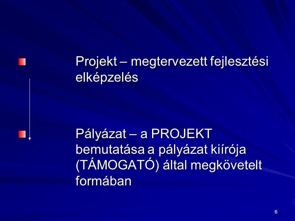 6 Projekt – megtervezett fejlesztési elképzelés Pályázat – a PROJEKT bemutatása a pályázat kiírója (TÁMOGATÓ) által megkövetelt formában