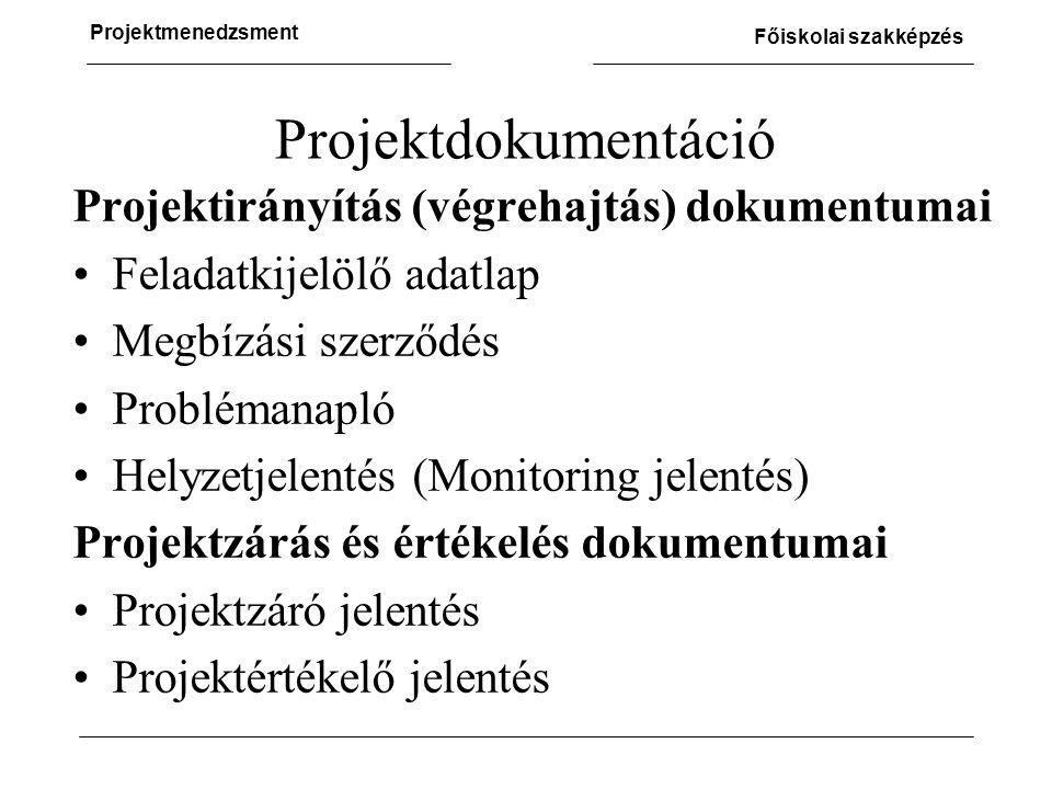 Projektmenedzsment Főiskolai szakképzés Projektdokumentáció Projektirányítás (végrehajtás) dokumentumai •Feladatkijelölő adatlap •Megbízási szerződés •Problémanapló •Helyzetjelentés (Monitoring jelentés) Projektzárás és értékelés dokumentumai •Projektzáró jelentés •Projektértékelő jelentés