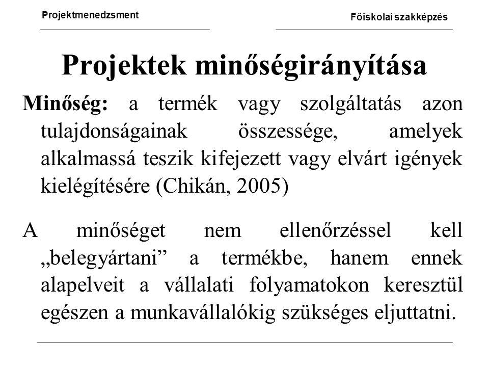 """Projektmenedzsment Főiskolai szakképzés Projektek minőségirányítása Minőség: a termék vagy szolgáltatás azon tulajdonságainak összessége, amelyek alkalmassá teszik kifejezett vagy elvárt igények kielégítésére (Chikán, 2005) A minőséget nem ellenőrzéssel kell """"belegyártani a termékbe, hanem ennek alapelveit a vállalati folyamatokon keresztül egészen a munkavállalókig szükséges eljuttatni."""