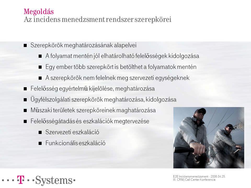 E2E Incidensmenedzsment · 2006.04.25. III. CRM/Call Center Konferencia Megoldás Az incidens menedzsment rendszer szerepkörei  Szerepkörök meghatározá