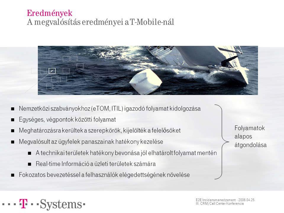 E2E Incidensmenedzsment · 2006.04.25. III. CRM/Call Center Konferencia Eredmények A megvalósítás eredményei a T-Mobile-nál  Nemzetközi szabványokhoz