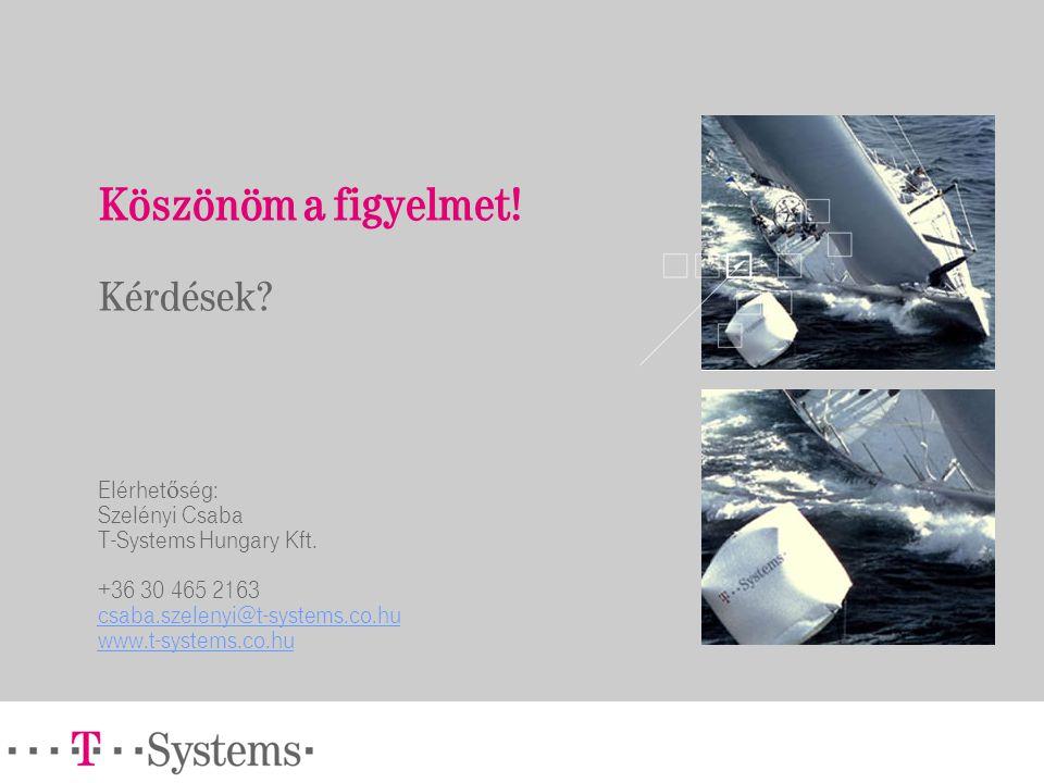 Köszönöm a figyelmet! Kérdések? Elérhet ő ség: Szelényi Csaba T-Systems Hungary Kft. +36 30 465 2163 csaba.szelenyi@t-systems.co.hu www.t-systems.co.h