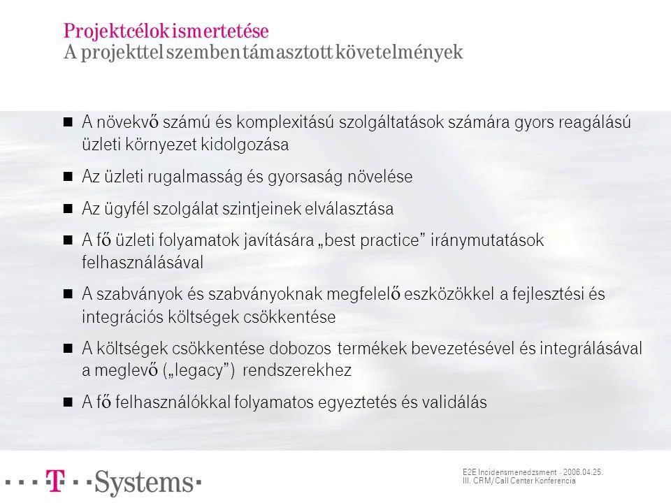 E2E Incidensmenedzsment · 2006.04.25. III. CRM/Call Center Konferencia Projektcélok ismertetése A projekttel szemben támasztott követelmények  A növe