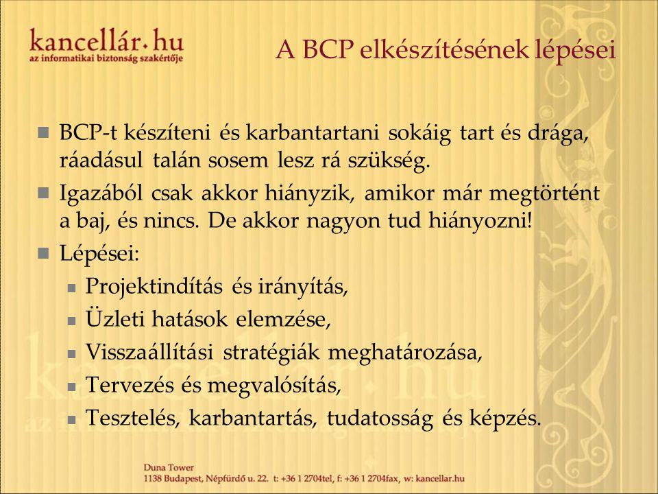 A BCP elkészítésének lépései  BCP-t készíteni és karbantartani sokáig tart és drága, ráadásul talán sosem lesz rá szükség.