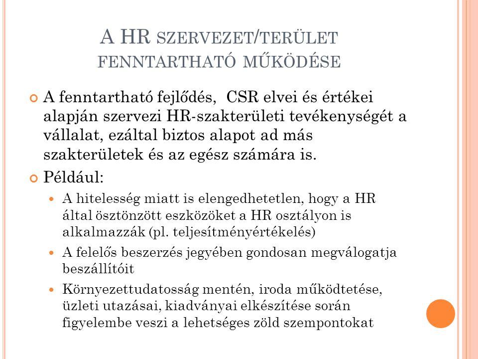A HR SZERVEZET / TERÜLET FENNTARTHATÓ MŰKÖDÉSE A fenntartható fejlődés, CSR elvei és értékei alapján szervezi HR-szakterületi tevékenységét a vállalat