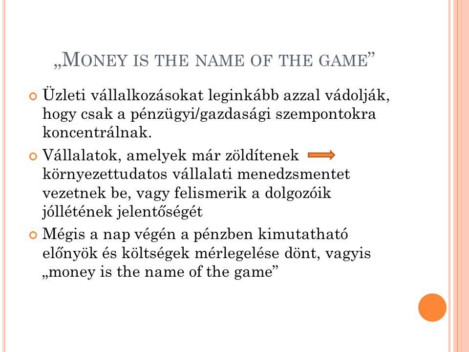 """""""M ONEY IS THE NAME OF THE GAME """" Üzleti vállalkozásokat leginkább azzal vádolják, hogy csak a pénzügyi/gazdasági szempontokra koncentrálnak. Vállalat"""