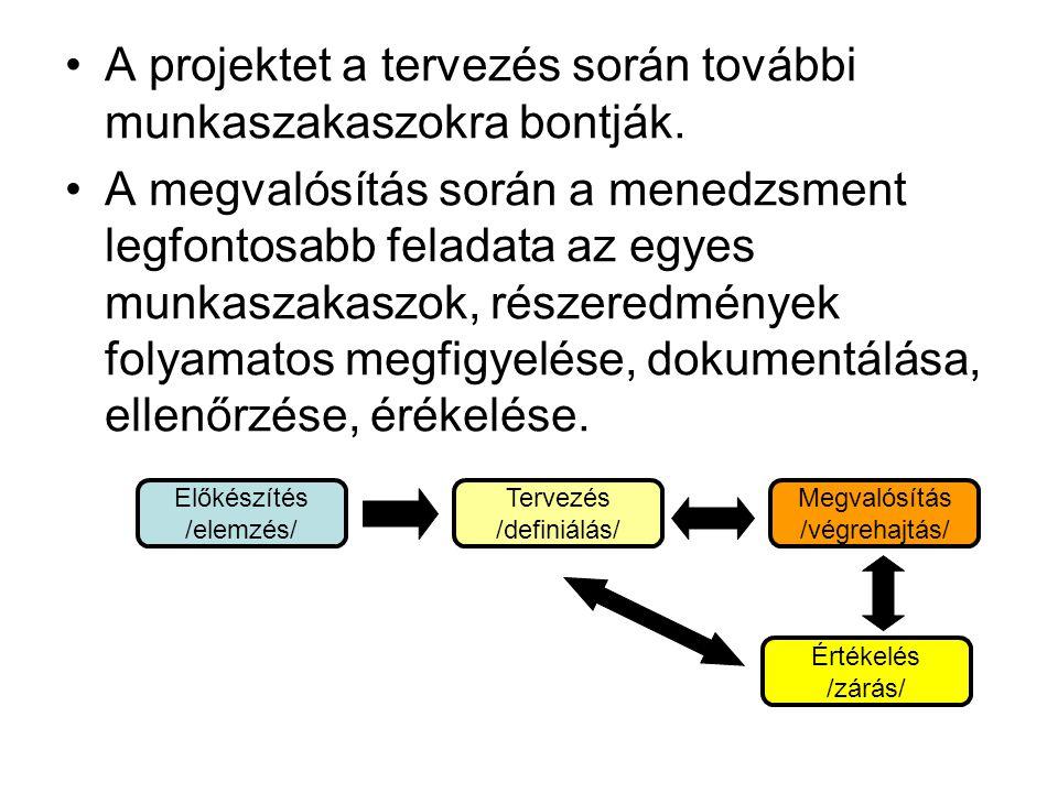 •A projektet a tervezés során további munkaszakaszokra bontják. •A megvalósítás során a menedzsment legfontosabb feladata az egyes munkaszakaszok, rés