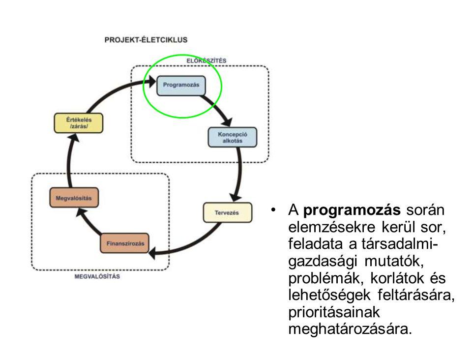 •A programozás során elemzésekre kerül sor, feladata a társadalmi- gazdasági mutatók, problémák, korlátok és lehetőségek feltárására, prioritásainak m