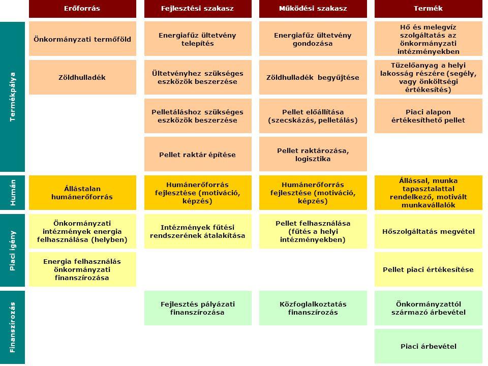 Önkormányzati termőföld Fejlesztés pályázati finanszírozása Erőforrás Energiafűz ültetvény telepítés Ültetvényhez szükséges eszközök beszerzése Pellet
