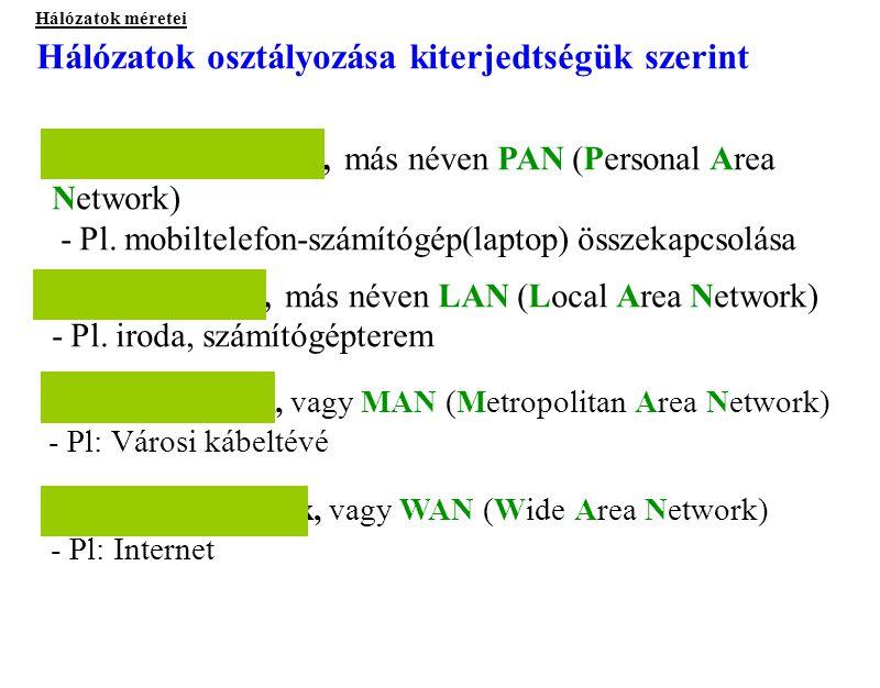 Hálózatok osztályozása kiterjedtségük szerint Hálózatok méretei Helyi hálózatok, más néven LAN (Local Area Network) - Pl. iroda, számítógépterem Város