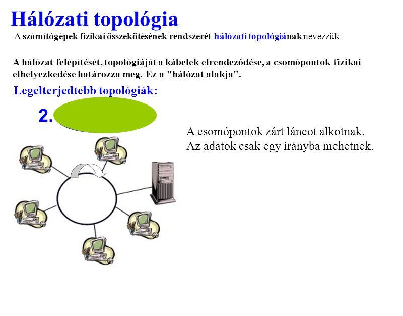 Hálózati topológia 2. A csomópontok zárt láncot alkotnak. Az adatok csak egy irányba mehetnek. A számítógépek fizikai összekötésének rendszerét hálóza
