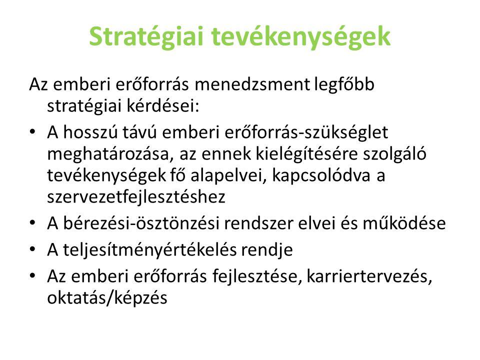 Stratégiai tevékenységek Az emberi erőforrás menedzsment legfőbb stratégiai kérdései: • A hosszú távú emberi erőforrás-szükséglet meghatározása, az en