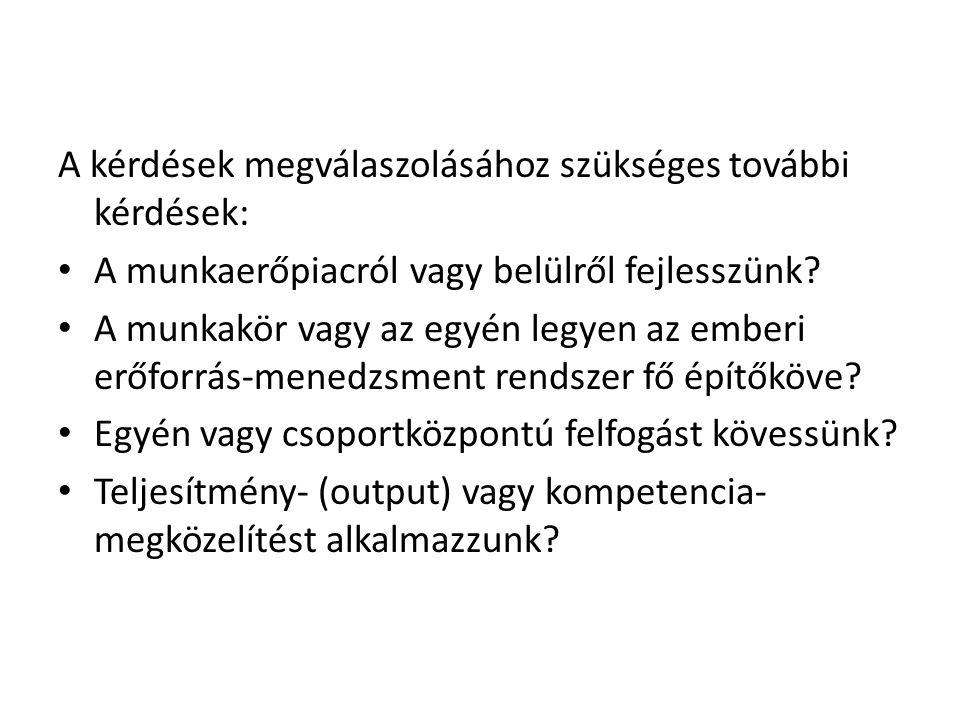 A kérdések megválaszolásához szükséges további kérdések: • A munkaerőpiacról vagy belülről fejlesszünk.