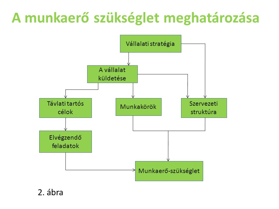 A munkaerő szükséglet meghatározása Vállalati stratégia Elvégzendő feladatok Munkaerő-szükséglet Szervezeti struktúra Távlati tartós célok Munkakörök