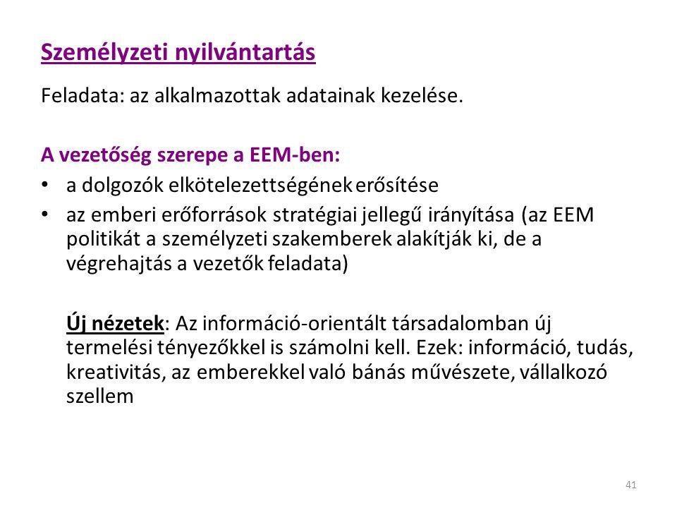 41 Személyzeti nyilvántartás Feladata: az alkalmazottak adatainak kezelése. A vezetőség szerepe a EEM-ben: • a dolgozók elkötelezettségének erősítése