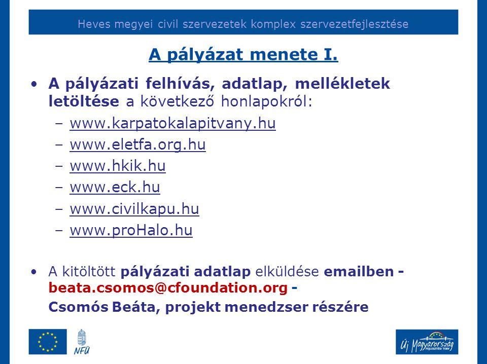 Heves megyei civil szervezetek komplex szervezetfejlesztése A pályázat menete I. •A pályázati felhívás, adatlap, mellékletek letöltése a következő hon