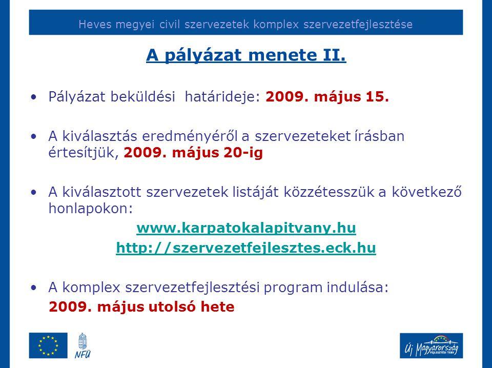 Heves megyei civil szervezetek komplex szervezetfejlesztése A pályázat menete II. •Pályázat beküldési határideje: 2009. május 15. •A kiválasztás eredm