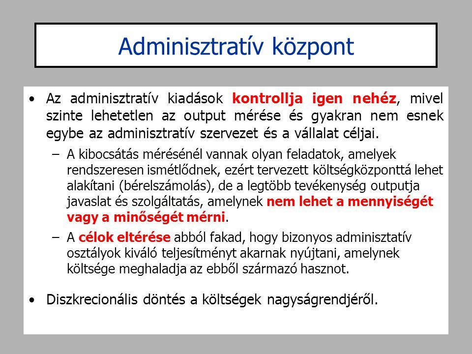 Adminisztratív központ •Az adminisztratív kiadások kontrollja igen nehéz, mivel szinte lehetetlen az output mérése és gyakran nem esnek egybe az admin