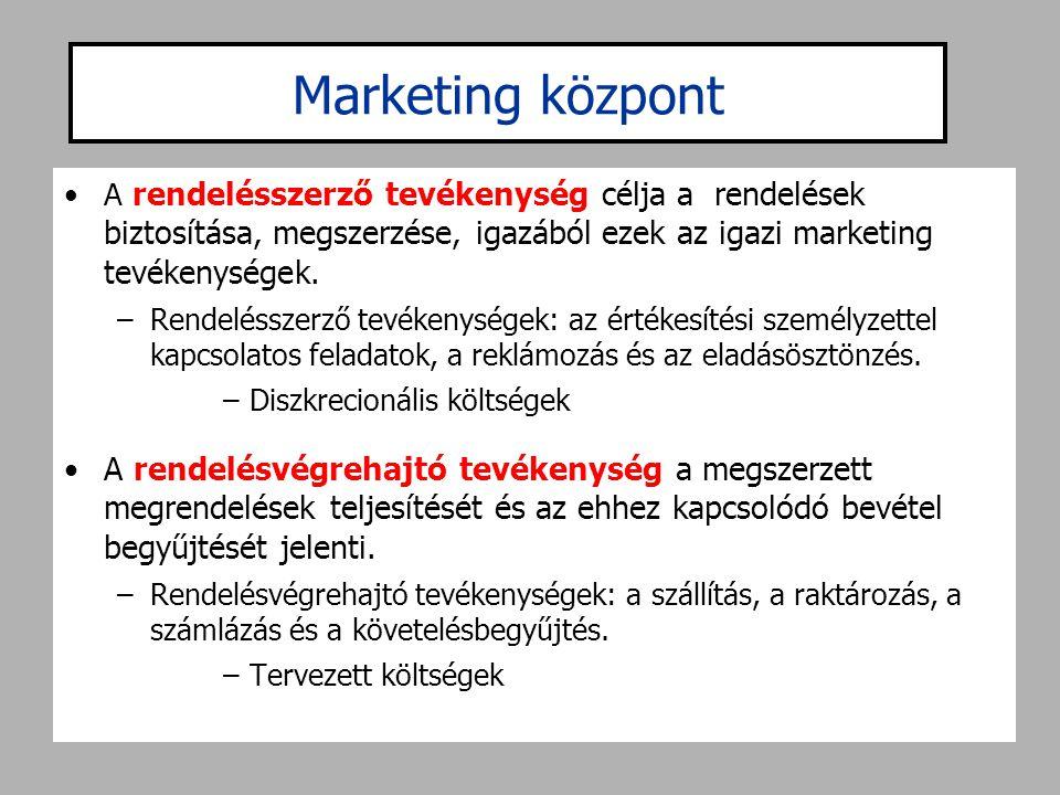 Marketing központ •A rendelésszerző tevékenység célja a rendelések biztosítása, megszerzése, igazából ezek az igazi marketing tevékenységek. –Rendelés