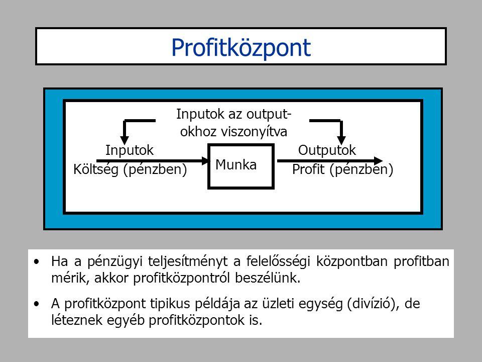 Profitközpont •Ha a pénzügyi teljesítményt a felelősségi központban profitban mérik, akkor profitközpontról beszélünk. •A profitközpont tipikus példáj