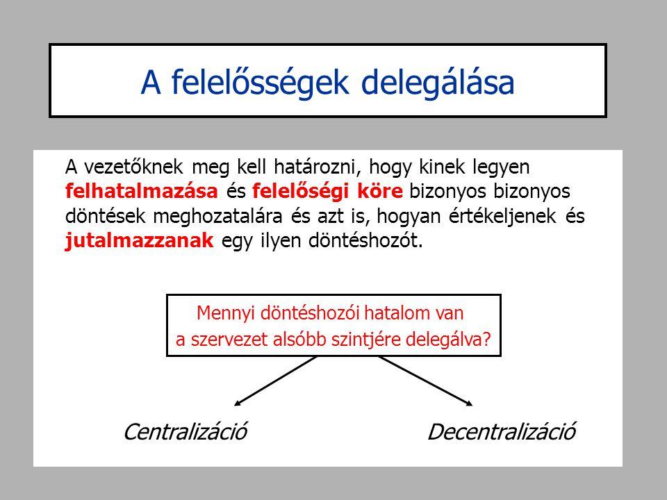 Centralizáció •Egy centralizált döntéshozatali környezetben a helyi vezetők részletes működési szabályokat követnek, amelyek arról tájékoztatják őket, hogyan cselekedjenek.