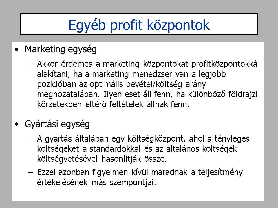 Egyéb profit központok •Marketing egység –Akkor érdemes a marketing központokat profitközpontokká alakítani, ha a marketing menedzser van a legjobb po