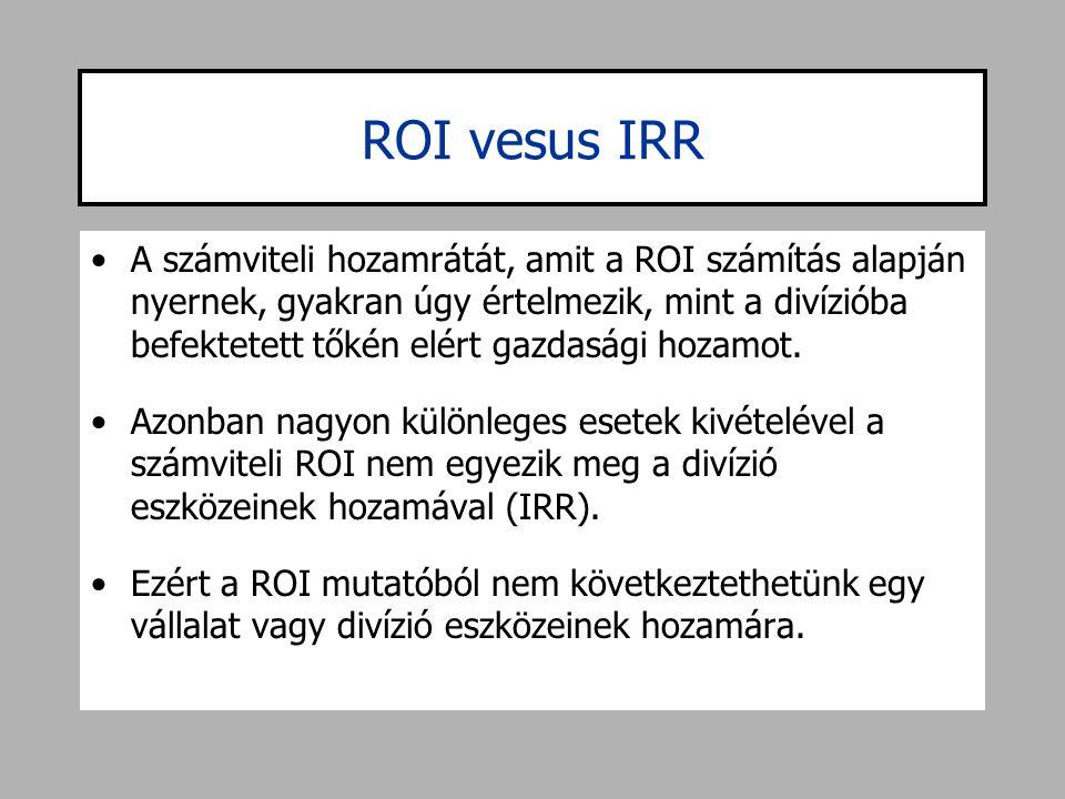 ROI vesus IRR •A számviteli hozamrátát, amit a ROI számítás alapján nyernek, gyakran úgy értelmezik, mint a divízióba befektetett tőkén elért gazdaság