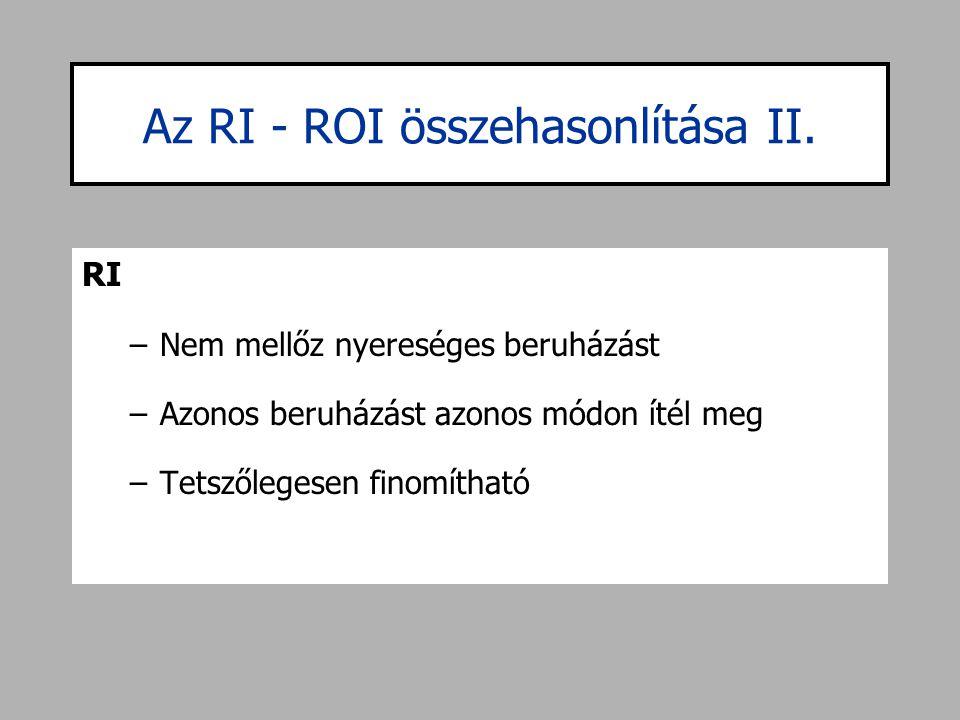 Az RI - ROI összehasonlítása II. RI –Nem mellőz nyereséges beruházást –Azonos beruházást azonos módon ítél meg –Tetszőlegesen finomítható