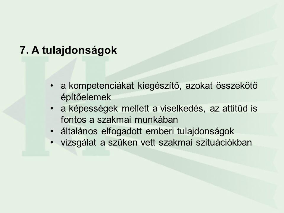 7. A tulajdonságok •a kompetenciákat kiegészítő, azokat összekötő építőelemek •a képességek mellett a viselkedés, az attitűd is fontos a szakmai munká