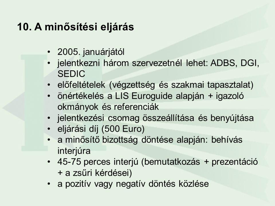 10. A minősítési eljárás •2005. januárjától •jelentkezni három szervezetnél lehet: ADBS, DGI, SEDIC •előfeltételek (végzettség és szakmai tapasztalat)