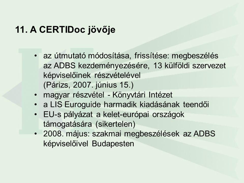 11. A CERTIDoc jövője •az útmutató módosítása, frissítése: megbeszélés az ADBS kezdeményezésére, 13 külföldi szervezet képviselőinek részvételével (Pá