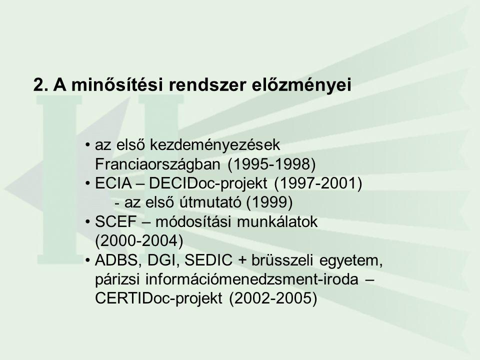 •az első kezdeményezések Franciaországban (1995-1998) •ECIA – DECIDoc-projekt (1997-2001) - az első útmutató (1999) •SCEF – módosítási munkálatok (200
